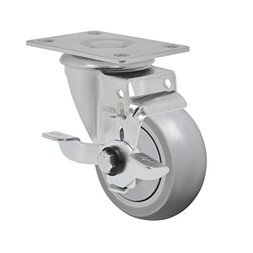 """Schioppa L12 Series, Gla 312 Spe Sl, 3 X 1-1/4"""" Swivel Caster With Wheel Lock Brake, Non-Marking Extra Soft Thermoplastic Rubber Precision Ball Bearing Wheel, 125 Lbs, Plate 3-3/4 X 2-1/2"""" (Bolt Holes 3 X 1-3/4"""") front-381518"""