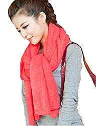 Wander Agio Women's Warm Long Shawl Winter Warm Large Scarf Pure Color Red