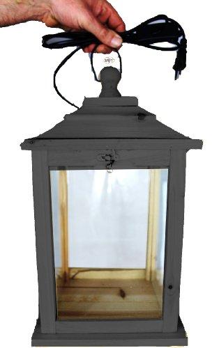 BLACK Holzlaterne, als Glasvitrine mit Beleuchtung, mit Glas und Holz - Rahmen, mit Holz - Deko KL-OFOS-SCHWARZ aus Holz groß schwarz anthrazit dunkel grau lasiert