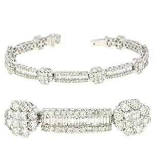 14k White 6.69 Ct Diamond Bracelet - JewelryWeb