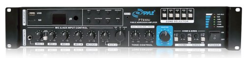 Pyle Pt930U Public Address 300 Watt Amplifier With 5 Mic Inputs