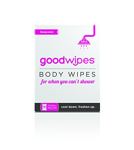 GoodWipes - Deodorizing Body Biodegradable Wipes - For Gals with Vitamin E and Aloe (10 Count) Deodorizing Bath