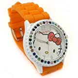 Hello Kitty Color Crystal Background Orange Band Watch with Free Red Heart Love Necklace By SH