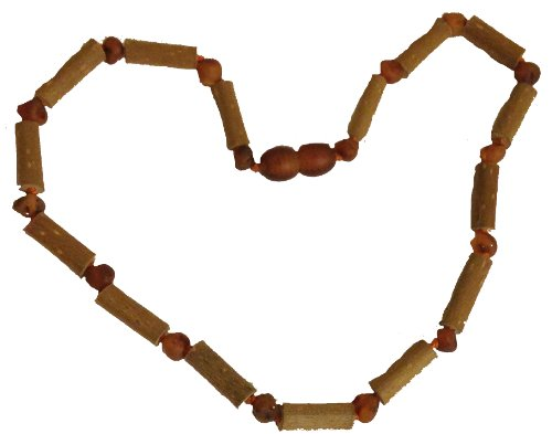 Umai Authentic Hazelwood and COGNAC RAW (Unpolished) Baltic Amber Teething Necklace for Babies and Toddlers