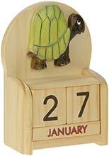Tortuga : Hechos a mano calendario perpetuo de madera. Diversión peculiar de Navidad o idea del regalo de cumpleaños. Presente Comercio Justo (tamaño 10,5 x 7 x 3,5 cm)
