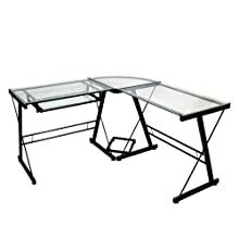 Walker Edison 3-Piece Contemporary Desk, Black