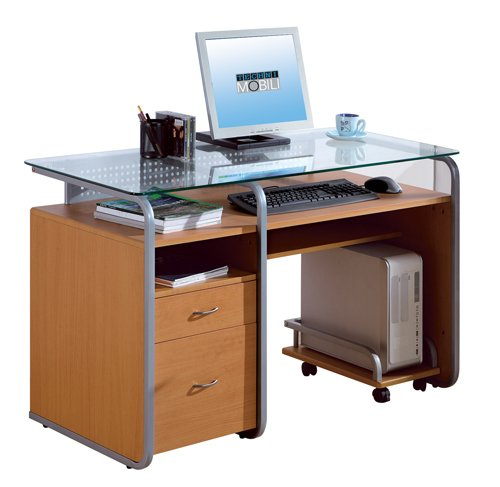 Buy Low Price Comfortable Mad Tech 30x24x48 Dark Honey Mdf Frame & Glass Top Computer Office Desk Table (B004W0MHIC)