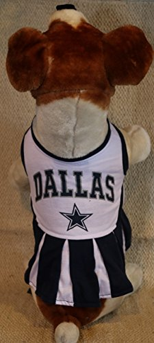 DALLAS COWBOYS CHEERLEADER DOG DRESS OUTFIT ALL SIZES LICENSED NFL (Small) (Dallas Cowboys Costume For Boys)