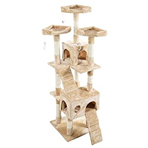 "66"" Cat Kitty Tree Tower Condo Furniture Play Pet Home Beige"