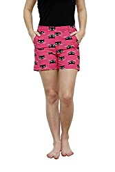 LEBE Pink Cotton Comfortable Shorts for Women
