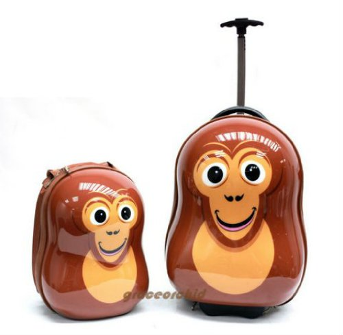 B0091ZS7WS CUTIES AND PALS KIDS BOYS GIRLS 17″ CARRY-ON TROLLEY LUGGAGE + 13″ BACKPACK – MONKEY