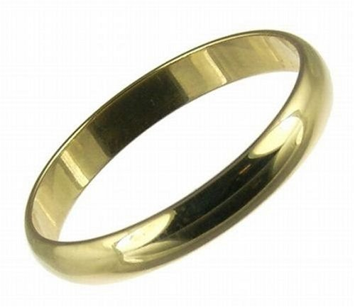 Men's Wedding Ring, 9 Carat Yellow Gold D Shape, 3mm Band Width