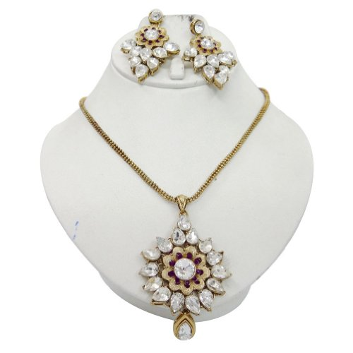 Party Wear Gold Tone CZ Pendant Earring Set Indian Wedding Women Costume Ethnic Jewellery Gift India