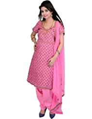 Exotic India Azalea-Pink Banarasi Salwar Suit With All-Over Woven Flowers - Pink