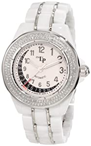 Lucien Piccard Women's 27119WH Celano Mid Size Automatic Diamond Accented White and Black Textured Dial White Ceramic Watch