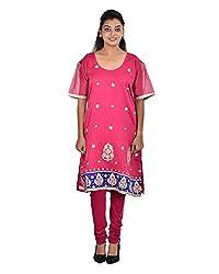 Damyantii Women's Plus Size Indo-Western Straight Pink Kurta