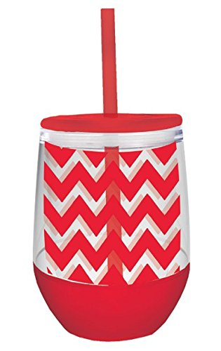 10 oz Red Chevron Acrylic Double Wall Insulated Stemless Wine Glass with Lid and Straw (Insulated Acrylic Glasses compare prices)