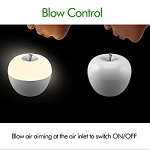 OxyLED Apple LED Night Light Night Lamp, Especial Blowing Control Candle Style Light, White Light Mode & 7 RGB Color Mode, Memory Function by Oxyled