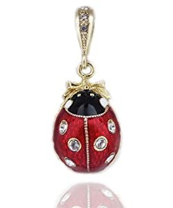 Lady Bug Necklace Jewelry Russian Sterling Silver Gold Plated Egg Pendant