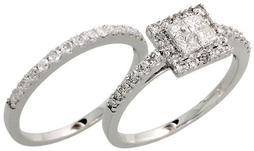 14k White Gold 2-Piece Square Wedding Ring Set, w/ 0.80 Carat Brilliant Cut & Invisible Set Diamonds, 1/4