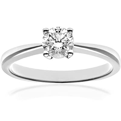 Ariel 18ct White Gold Engagement Ring, IJ/I Certified Diamond, Round Brilliant