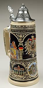 Old Heritage Coat of Arms and Landmarks Full Relief Colored Authentic German Beer Stein from King Werke Germany (aka King Werks / King-Works)