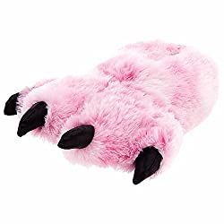 Pink Fuzzy Tiger Paw Animal Slippers for Women and Men from BRAND NOT SPECIFIED