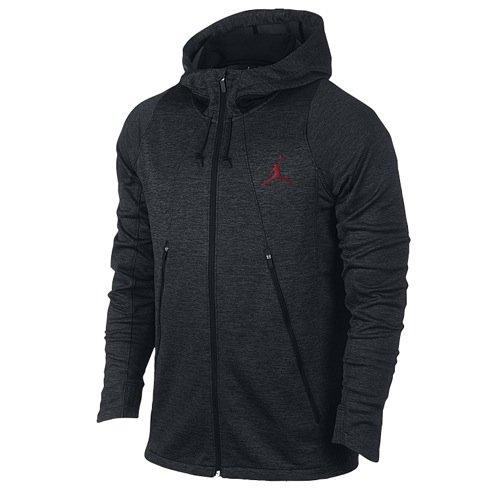 Nike Mens Jordan Flight Fleece Outdoor Full Zip Hoodie Black/Gym Red 688525-010 Size Medium
