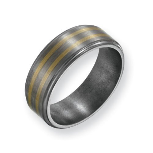 Titanium 14k Gold Inlay 8mm Satin and Polished Comfort Fit Wedding Band Ring (SIZE 8 )