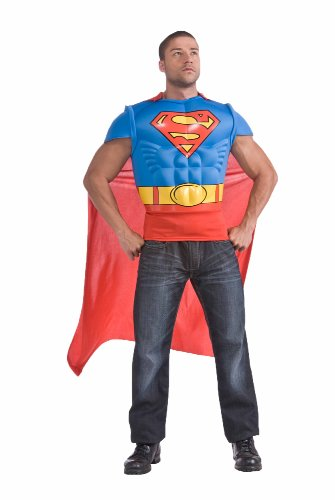 Superman Muscle Chest Top with Cape, Red/Blue, - Standard, L or XL