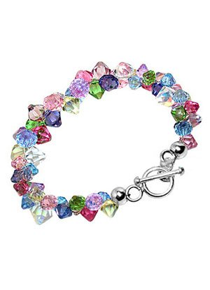 Crystal Bracelet Sterling Silver Multicolor Crystal 7.5 inch Bracelet With Toggle Clasp Made with Swarovski Elements