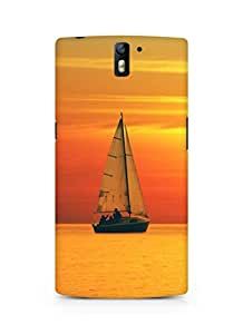Amez designer printed 3d premium high quality back case cover for Oneplus One (Golden Sunset Ocean Sail)