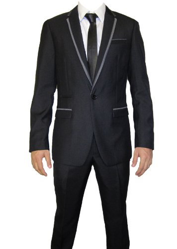 Mens Marc Darcy (Roberto) Latest Designer Black 2PC Suit, Jacket 48