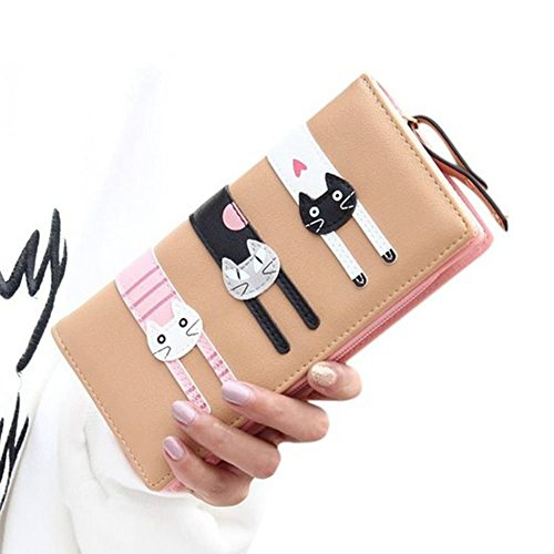 JOLIN Womens Cute Cat Wallets Bifold Long Purse with Zipper,Brown (Charming Charlie compare prices)