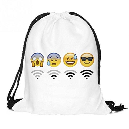 Cloud-Castle emoji Turnbeutel Zaino Sacca sportiva a tracolla per l'allenamento, viaggio borsa borsetta palestra zaino a spalla trend sport per uomini donne ragazzi ragazze bambini (Emoji wifi / bianco)