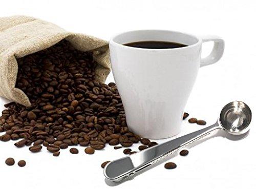 Stainless Steel Durable Bag Grip Clip & Coffee Spoon / Tea Scooper Food Storage - 2 Pack