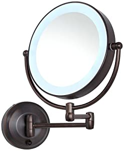 Zadro 10x Mag Next Generation Cordless LED Lighted Double Sided Round Wall Mirror, 7-1/2 Inch, Oil-Rubbed Bronze Finish