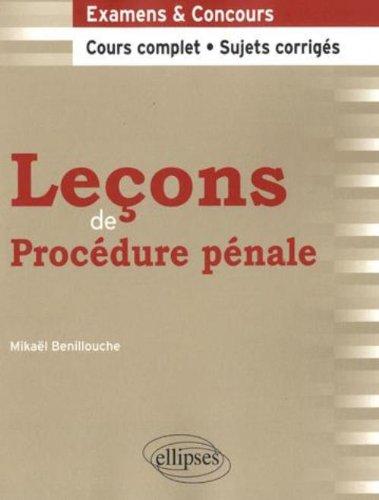 Leçons de Procédure pénale (French Edition)