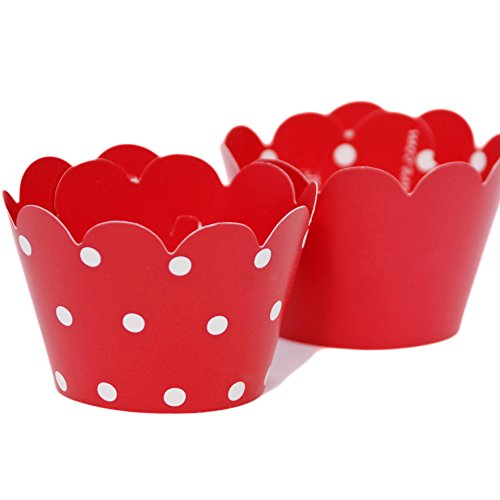 MINI Cupcake Wrappers Red and White Polka Dot, Solid, 24 Wraps, Confetti Couture Party Supplies