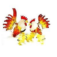 水族館ミニチュア手吹き飛ばさアート ガラス ガラスの鶏家族、L サイズの置物のコレクション
