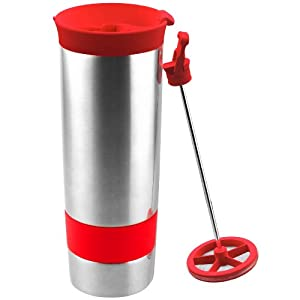 Asobu The Hot Press Vacuum Insulated Cup, 16-Ounce, Red