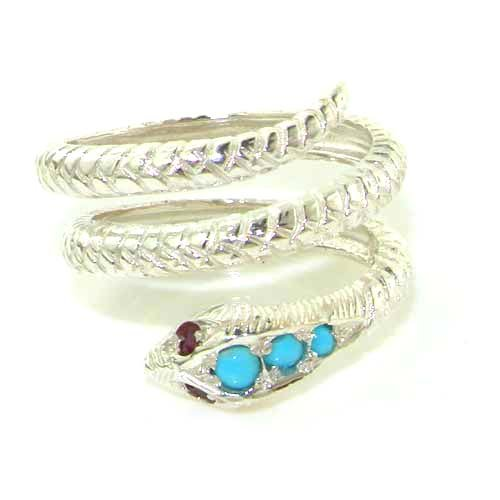 Fabulous Solid White Gold Natural Turquoise & Ruby Detailed Snake Ring - Size 9.25 - Finger Sizes 5 to 12 Available
