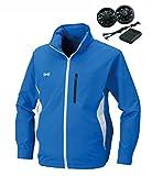 空調服 作業服 フード付き長袖スタッフジャンパー電池ボックス/ファン(空調服基本セット)《099-KU90521》 (L, 4-ブルー) (¥ 13,930)