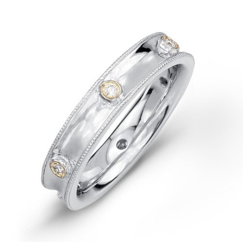 Victoria Kay 1/10ct White Diamond Bezel Eternity Band in Sterling Silver with 14k Yellow Gold, Size 6.5 (JK, I2-I3)