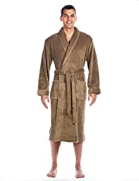 Mens Premium Coral Fleece Plush Spa/Bath Robe - Capuccino - Small/Medium