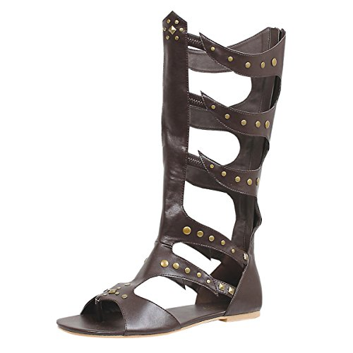 [Men's Gladiator Sandal Knee-High Caged with Rivet Detail and Rear Zipper Brown Size: Large] (Grecian Sandals Costume)