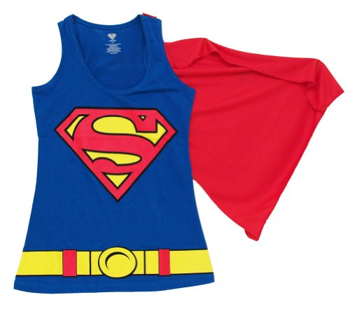 Superman Logo Costume Juniors Tank Top with Cape