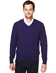 2in Longer Blue Harbour Luxury Wool Rich V-Neck Jumper with Cashmere