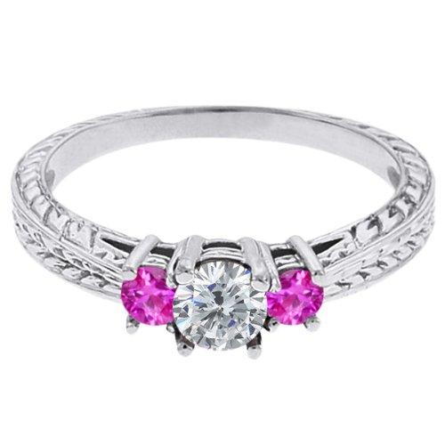 0.56 Ct Round G/H Diamond Pink Sapphire 18K White Gold 3-Stone Ring