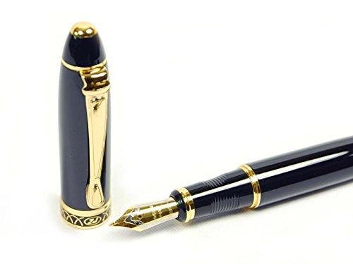 High Quality Vintage Black Calligraphy 1.7 mm Fountain Pen Chrome Ring & Tip with Push in Style Ink Converter 5